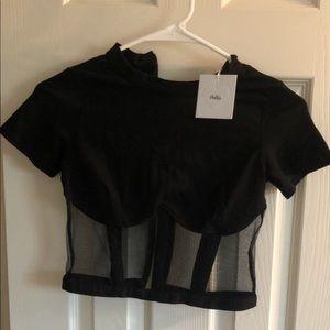 Black mesh corset crop top